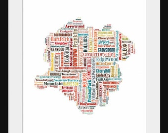 Roanoke Virginia Map Typography Map Poster Print - Color