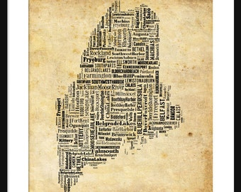Maine Map Typography Poster Print Grunge
