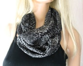 Chiffon infinity scarf-Gray black Leopard/animal print  chiffon infinity Scarf/ cowl Instant gratification-Only one available