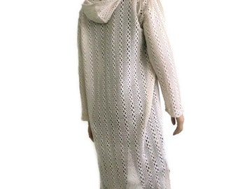 Hooded ivory lace cardigan duster, organic cotton,long duster with hood for layering,lace hoody cardigan , size Medium ,introductory price