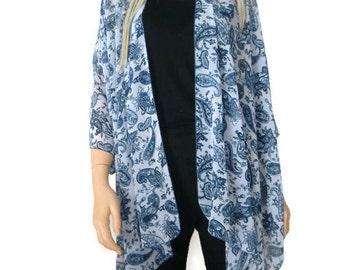 Kimono/ Kimono cardigan-Blue paisley chiffon kimono-ruana-  summer collection-Women Kimonos