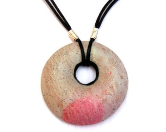 Glitter Donut Pendant, Donut Bead Necklace, Pink and Black, Copper Leaf, Polymer Clay Donut, Silver Plated Wire, Black Cord Necklace