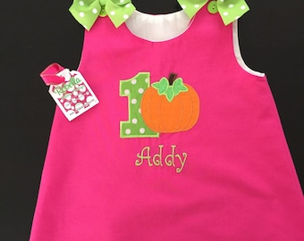 Custom Boutique monogrammed personalized Pumpkin Fall dress.