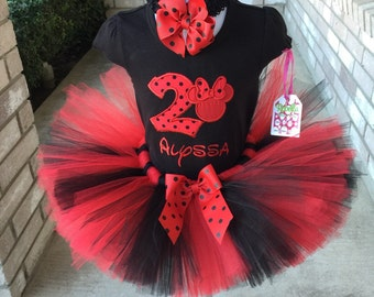 Custom boutique monogrammed personalized Red & black Minnie Mouse Birthday  tutu set