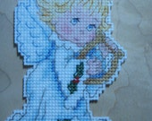 Reserved for kathyhod ****** Cross stitched ANGELIC ANGEL with Harp Christmas Ornament