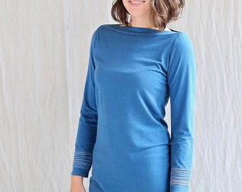 Bracelet Top, Long Sleeve, Peacock Blue, Bamboo Jersey, tunic, modern chic, eco fashion- made to order