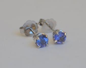 4mm Tanzanite Stud Earrings in 14K White Gold Scroll Settings