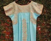 Pale green Mint and  Antique gold Embrodery Mexican Wedding Dress