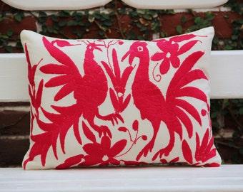 Fuchsia Art Pillow Sham-Otomi Embroidery Ready to ship.