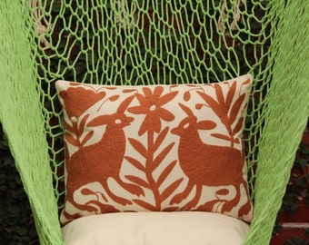 Brown Art Pillow Sham-Otomi Embroidery Ready to ship.