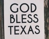 "Canvas Wall Hanging Banner ""God Bless Texas"""