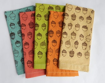 Cloth Napkins, Hand Printed Acorn Illustration, Mutli Color Organic Cotton, Set of 5