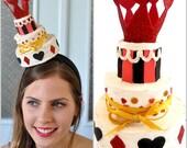 Queen Of Hearts Three tier cake Fascinator , Alice in wonderland Cake Fascinator, Alice in wonderland cake hat,Queen Of Hearts hat,
