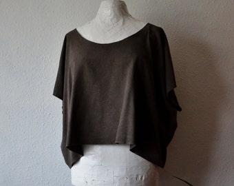 Organic clothing silk tunic top slouchy natural dyes kakishibu boho shirt dark brown layering eco living garments sustainable bohemian noil