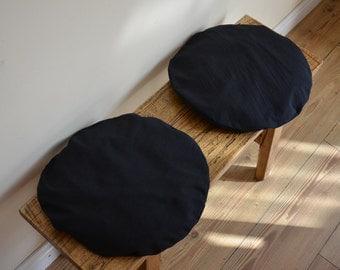 Zabuton meditation seat pad black Japanese fabric handmade round cushion plain circular pillow floor seat yoga pilates ethical therapeutics