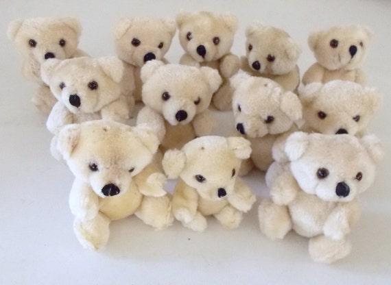 12 Plush Jointed Teddy Bears Destash
