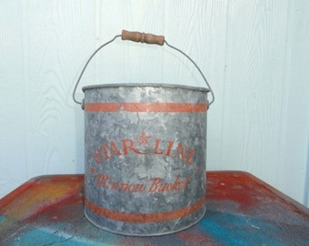 Vintage Minnow Bucket Rustic Bait Pail Camp Metal Galvanized Fishing