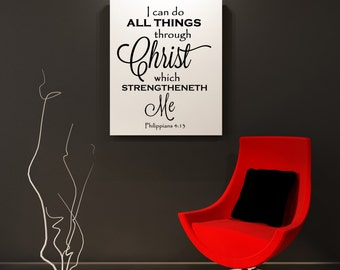 Vinyl Lettering Wall Decal- I can do all things..... Item 1726 New Standard Size 11x14 inches