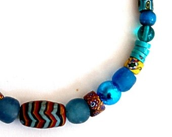 "AFRICAN TRADE BEAD Venetian millefiori 17 5/8"" necklace,Indonesian zigzag,Murano foil glass,aqua,turquoise,rust,wheat,mustard,black,lemon"
