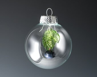 Glass Blueberry Ornament for Christmas or Easter gift for gourmet chef, cook, foodie, gardener or blueberry lover