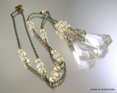 Art Deco Negligee Necklace with Clear Crystal Drops and Champagne Colored Pearls