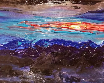 "Original Painting Acrylic OOAK ""View From a Plane"""