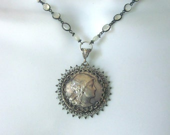 Antique Moonstone Assemblage Necklace Antique French Medal Joan of Arc