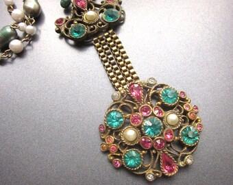 Rhinestone Statement Necklace Bridal Jewelry Repurposed Vintage Crystal Turquoise Fresh water Pearl Jewelry Pink Rhinestones