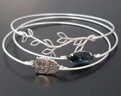 Midnight Owl Bracelet Bangle Set, Owl Jewelry, Nature Jewelry, Unique Jewelry, Unique Bracelet Stack, Stacking Bangle Bracelet Set
