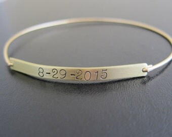 Keepsake Jewelry, Wedding Date Bracelet, Wedding Date Gift, Wedding Date Jewelry, Keepsake Bracelet, Custom Hand Stamped Bracelet