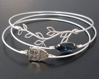 Midnight Owl Bracelet Set, Owl Jewelry, Nature Jewelry, Bird Jewelry, Owl Lover Gift, Bird Lover Gift, Unique Stacking Bangle Bracelet Set