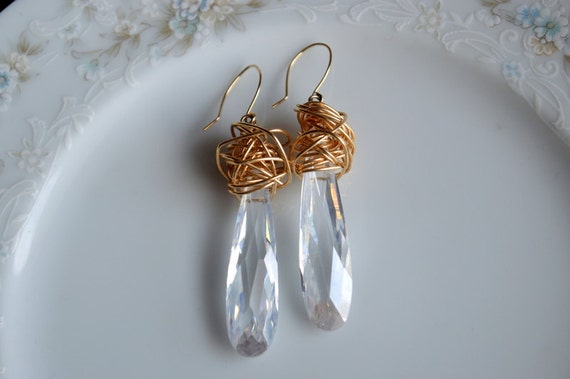 Cubic zirconia and gold wire wrapped earrings, wedding earrings, bridal jewelry
