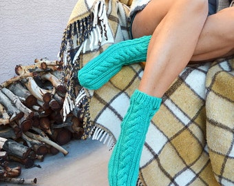 Hand knit socks light teal green womens socks gift for her cable knit socks