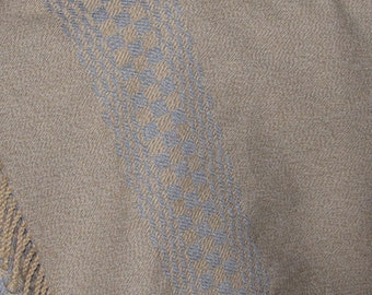 Shawl/poncho/scarf oatmeal/blue handwoven cotton