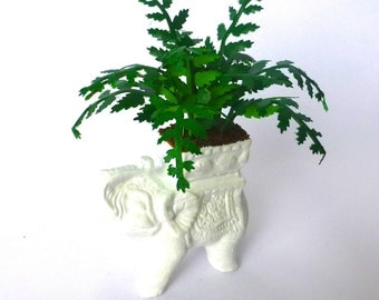 VICTORIAN FERN in WHITE Elephant planter dolls house Handmade miniature