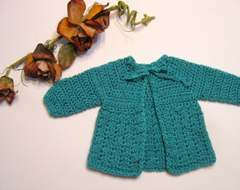 Baby Sweater, Gorgeous Blue,  0 to 3 Months, Newborn, Infant, Baby Shower Gift, Handmade, Crochet