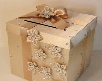 Wedding Card Box Champagne color Gift Card Box Money Box Holder-Customize your color