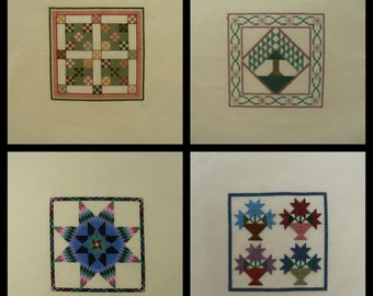 Miniature Counted Cross Stitch set of 4 Quilt Blocks