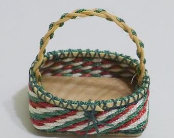 Dollhouse Miniature Basket - Bright Christmas Colors - OOAK - IGMA Artisan - 12th scale