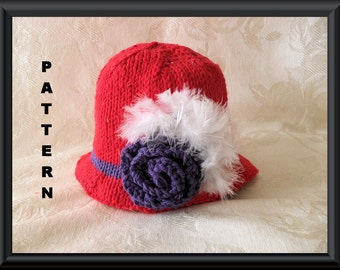 Knitted Hat Pattern Baby Hat Pattern  Baby Rose Hat Pattern Newborn Hat Pattern Kentucky Derby Hat Pattern: RED HAT SOCIETY