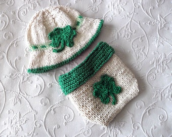 Hand Knitted Baby HAT and  DIAPER COVER  St. Patrick's Day Bonnet cotton knitted baby hat and Matching Diaper Cover Irish Shamrock St. Paddy