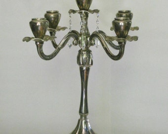Vintage Silver Plate Candelabra, Large 5 Arm Candle Holder Centerpiece, Tall Footed Candle Stick Holder