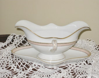 Vintage French Gravy Boat Porcelain Sauce Boat Attached Underplate Pink Band Gold Trim Monogrammed Antique Saucier with side Handles