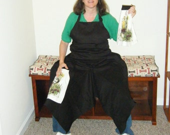 Pottery Apron with Ultimate Coverage Split Leg Panel Black Olive Oil Towels SHORT