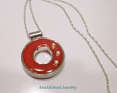 Rich Candy Apple Red Resin pendant, Swarovski Crystal Accents, silver bezel, sterling silver chain, red pendant, crystal necklace, red