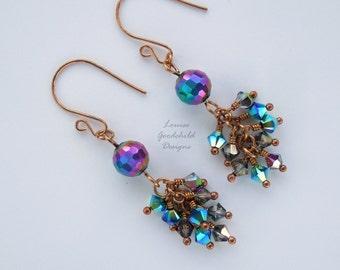 Rainbow earrings, waterfall earrings, rainbow jewellery, disco ball earrings, chakra earrings, rainbow, dangle earrings, colourful earrings
