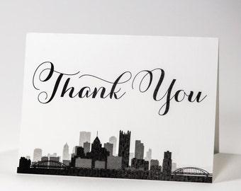 Pittsburgh Thank You Card Skyline City Pennsylvania Wedding Event A6 Folded Customizeable