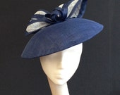 Navy & White Dior-esque Saucer - Great hat for a wedding or the Races, can be made in other colours