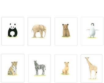 SAFARI NURSERY ART  8 Print Set  Zoo Animal Prints  Nursery Prints  Nursery Art Prints Baby Animal Prints Elephant, Giraffe Tiger, Zebra