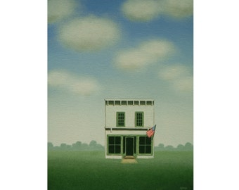 """Old Shop Painting ORIGINAL 9 x 12"""" American Flag  Blue Sky  Fine Art Painting  Country Store Gift cloud painting"""